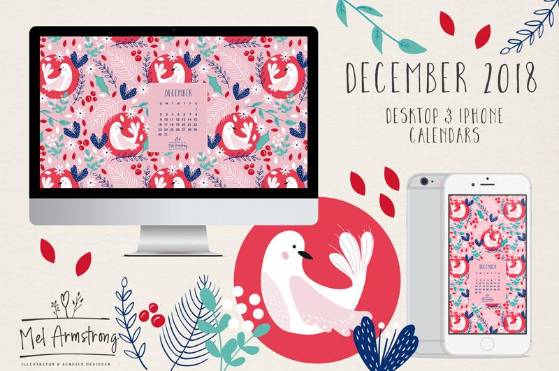 December 2018 Free desktop Calendar download